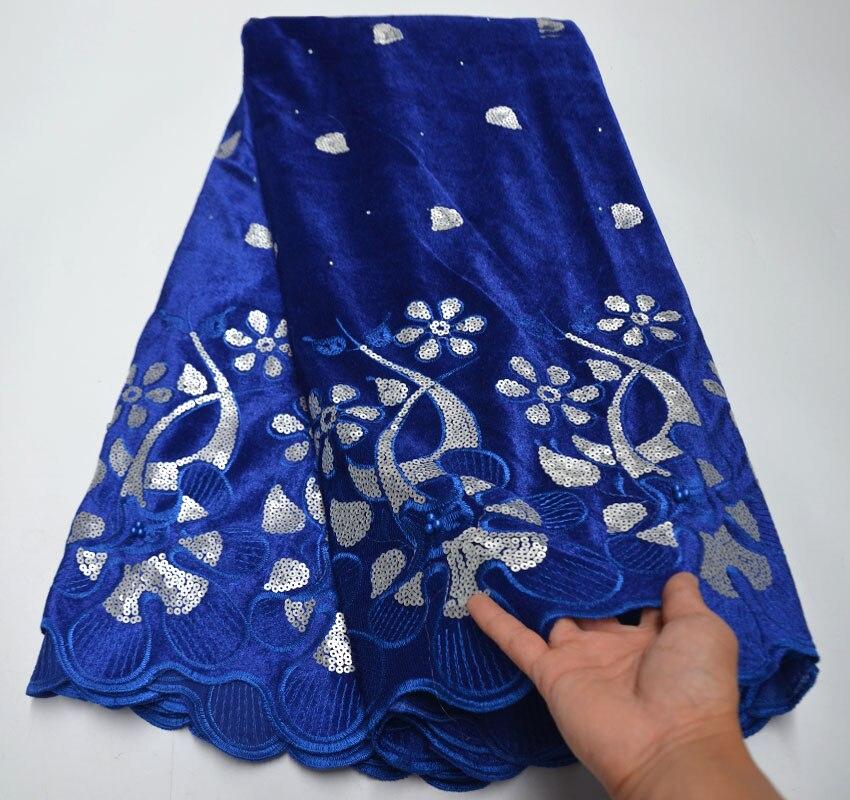 Tecido de renda de veludo africano alta qualidade 2020 lantejoulas francês tecido de renda swiss voile para vestido casamento 5 metros C5-614