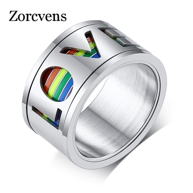 Letapi chunky 11mm spinner anel masculino esmalte arco-íris linhas dedo banda rotatable oco aço inoxidável amor lgbtq jóias