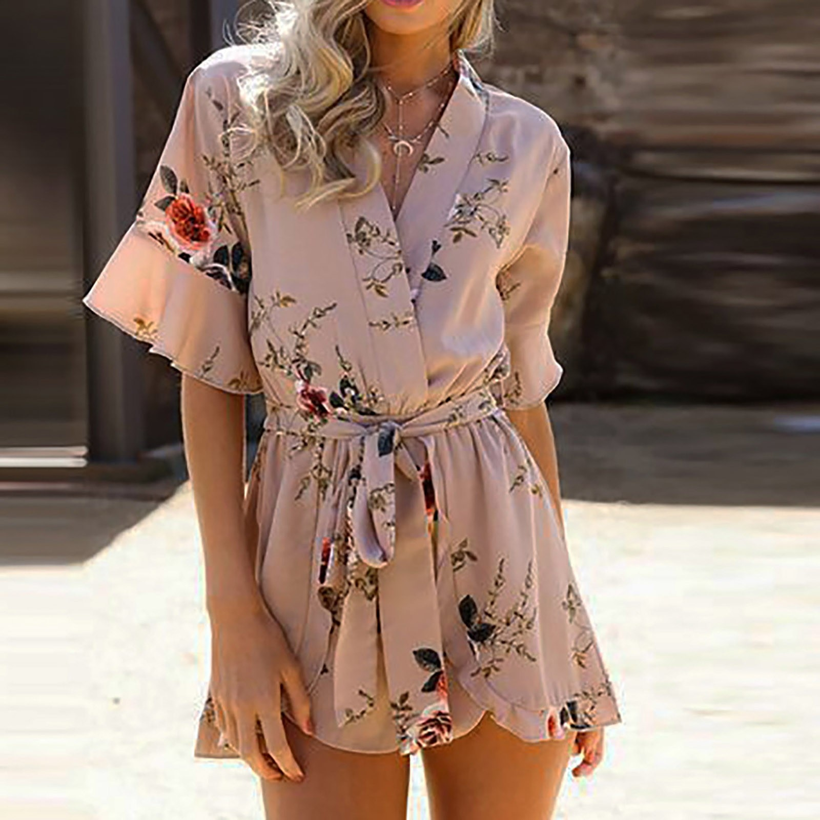 Boho Jumpsuit Women Summer Ruffles Sleeve V Neck Floral Print Sashes Playsuits Casual Loose Beach Sh