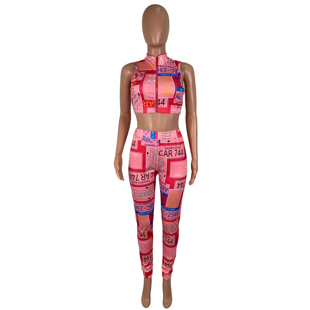 Sexy Two Piece Set Women Club Outfits Letter Print Deep V Neck Zipper Crop Top and Pencil Pants Sweatsuit Summer Slim Tracksuits