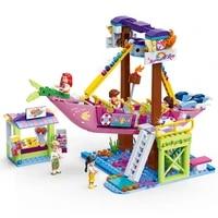 girl compatible friends series amusement park ferris wheel model building blocks bricks playgame toys for children