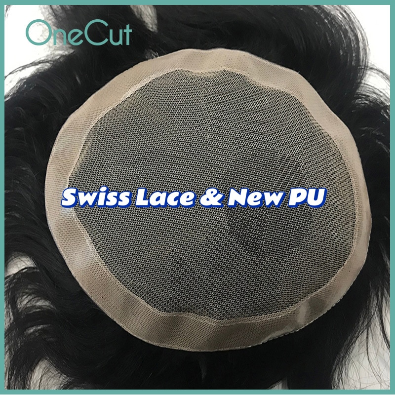 Lace PU Base Men Toupee Breathable Human Hair Replacement System Comfortable Natural Hairline Wigs Men's Capillary Prothesis