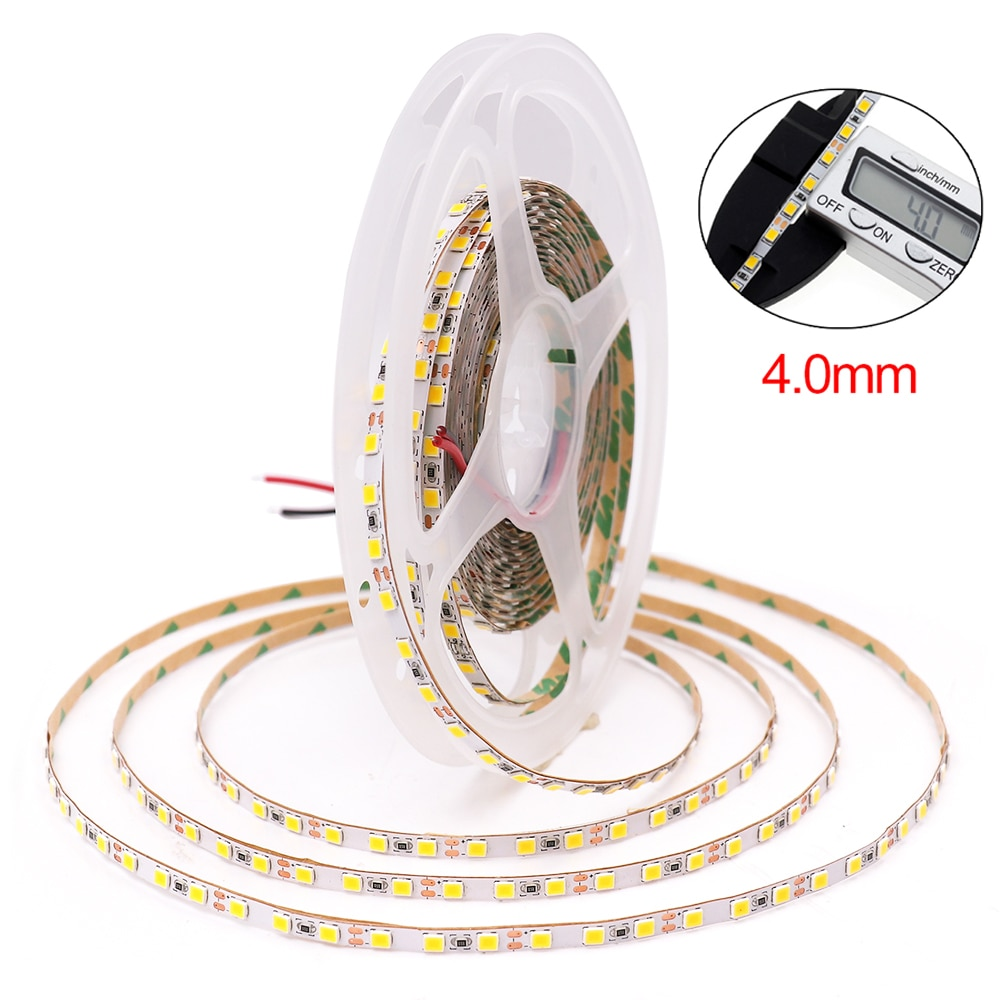 Tira de LED DC12V 120LEDs/m 4MM SMD 2835 tira de LED cinta Flexible LED cinta de luz lámpara blanca Natural/blanca cálida 5m