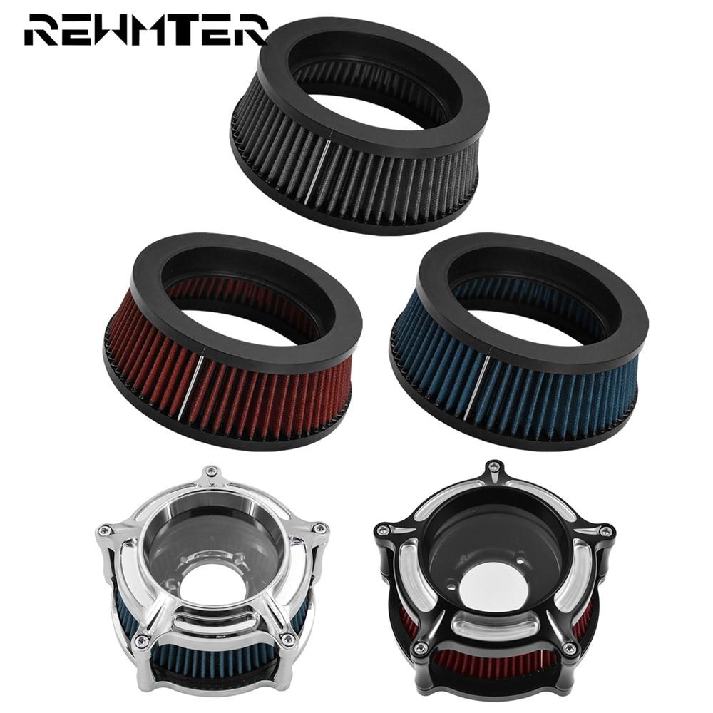 Limpiador de filtro de aire para moto sistema elemento interior de gris/azul/rojo para Harley Touring Dyna Softail Sportster 883 de 1200