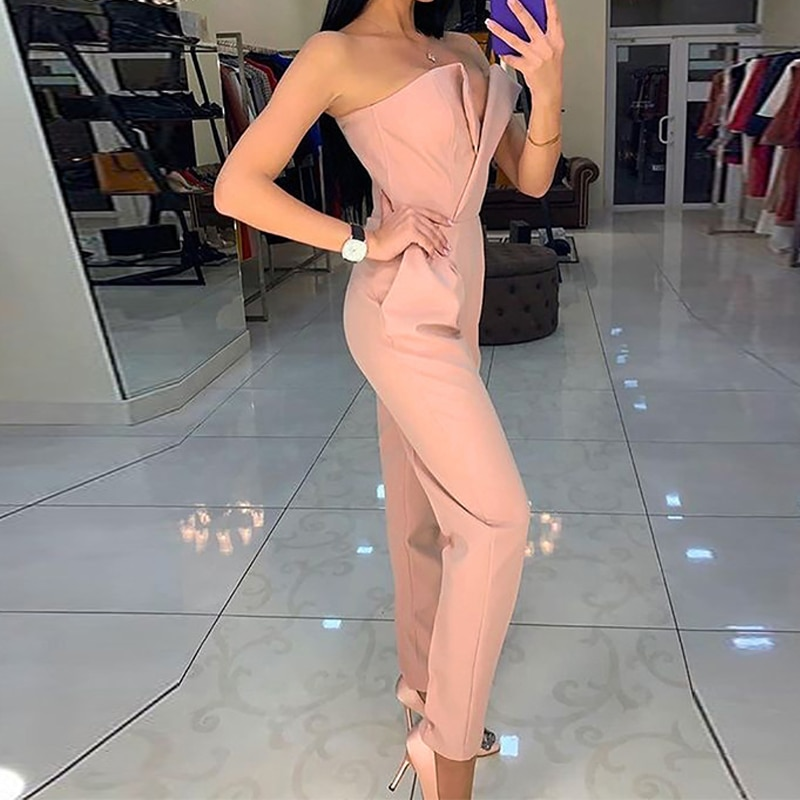 2021 Women V-Neck Wide Leg Fashion Elegant Casual Party Jumpsuit Sexy Strapless Sleeveless Office Lady Rompers Playsuit Clubwear wide leg jumpsuit women summer o neck green sleeveless jumpsuit vacation elegant long playsuit office lady vintage overalls
