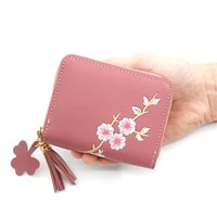 1pcs fashion pu leather women wallets embroidered zipper short wallet student coin purse card holder female girls coin purse