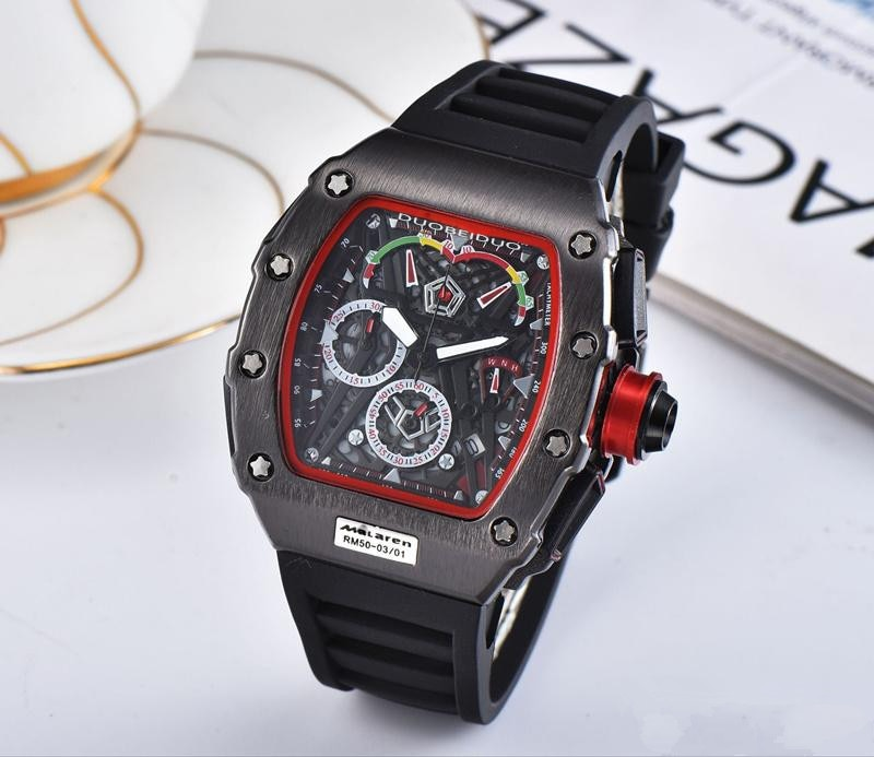 RM 35-01 Men Watches Fashion Design Bucket Shape Watch Silicone Strap Automatic Date Stainless Steel