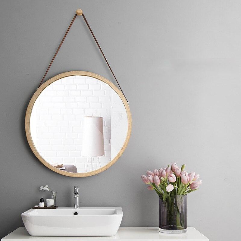 الحمام الجدار مرآة معلقة متعددة الوظائف الشمال مرآة حمام الجدار الديكور مرآة مستديرة الحمام نصف طول مرآة LD127