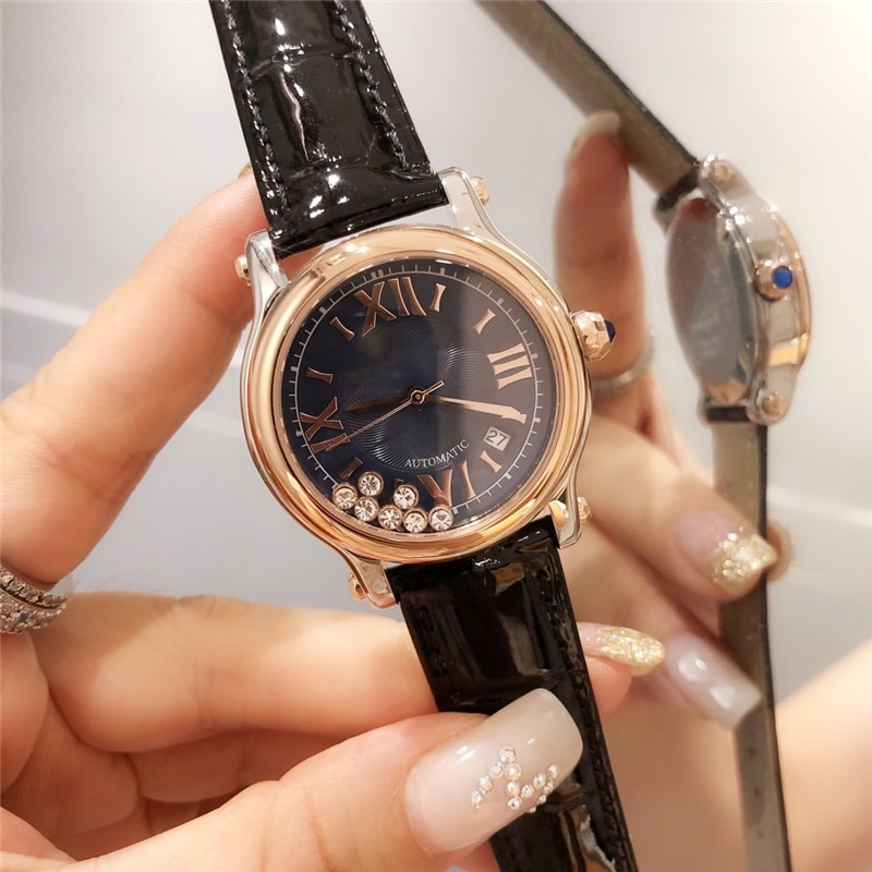 brand C quartz watches 316L stainless case genuine leather stripe high quality happy gems rose gold royalblue watches for woman enlarge
