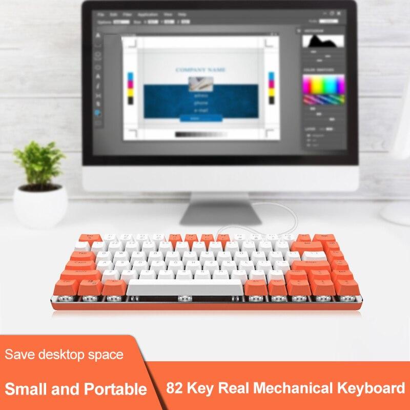 لوحة مفاتيح ألعاب ميكانيكية سلكية ، 82 مفتاحًا ، USB ، ABS ، إضاءة خلفية بيضاء ، لأجهزة الكمبيوتر المحمول ، سطح المكتب