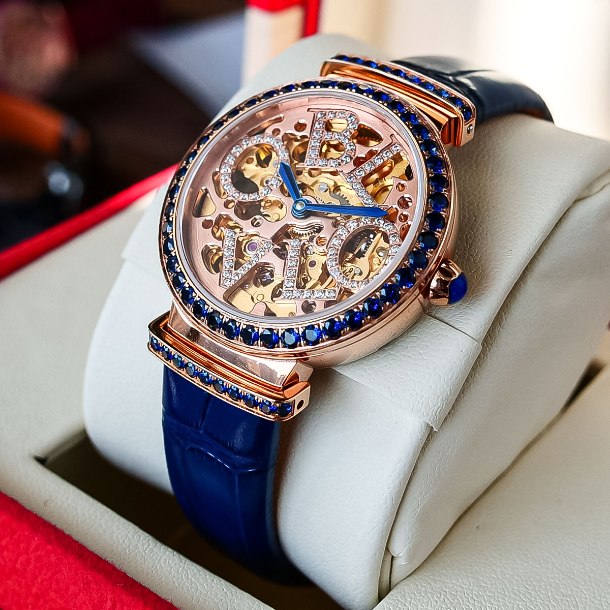 OBLVLO New Design Top Brand Luxury Women Fashion Automatic Watches Rose Gold  Female Wrist Watch Genuine Leather Strap enlarge