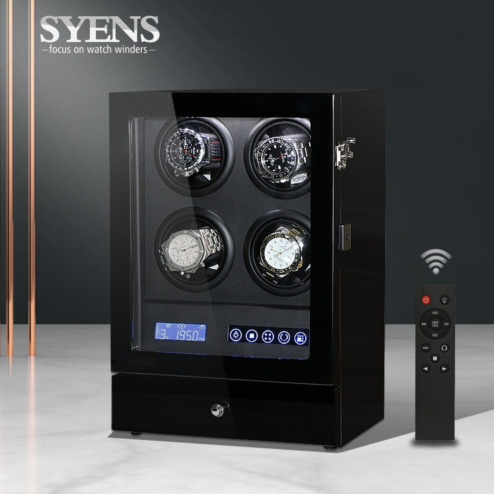 Intelligent Watch winder 4 watch display watch winder box watch collector with LED touch screen display