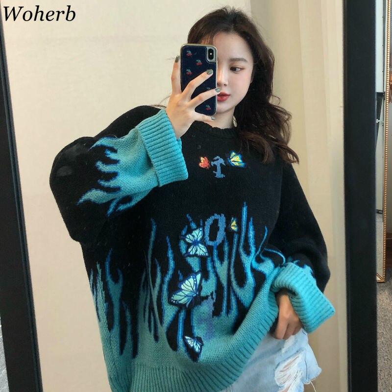 Woherb Herfst Winter Harajuku Vlam Gebreide Trui Vlinder Applique Womens Trui Casual Losse Trui Vrouwen Man Streetwear