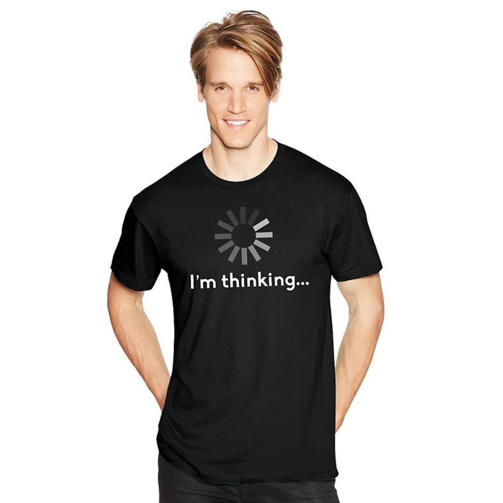 I'M THINKING Sarcastic Graphic Music Novelty Funny T Shirt Men Casual Cotton Top Letter Printed Men's T-shirt Tee Shirt Homme illuminati t shirt fashion brand dont trust anyone graphic tee letter print men t shirt casual funny shirt lw