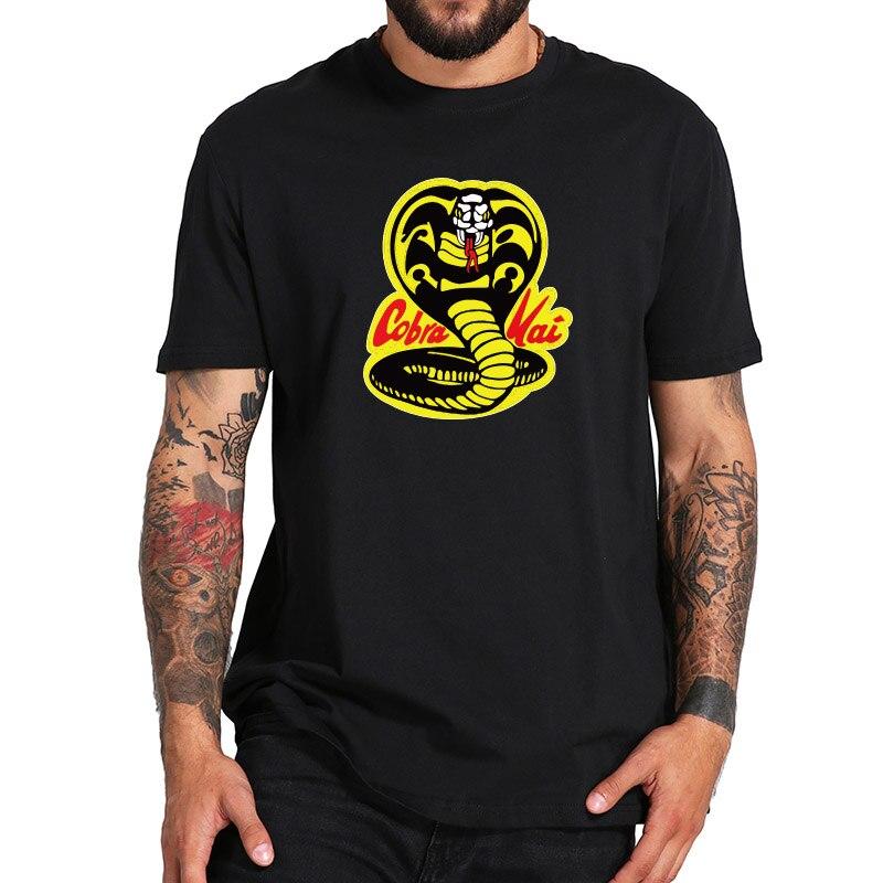 Camisetas Cobra Kai, Tops de verano del Rey de la serpiente, camisas casuales de algodón a la moda para hombre, ropa de calle estándar de talla estadounidense