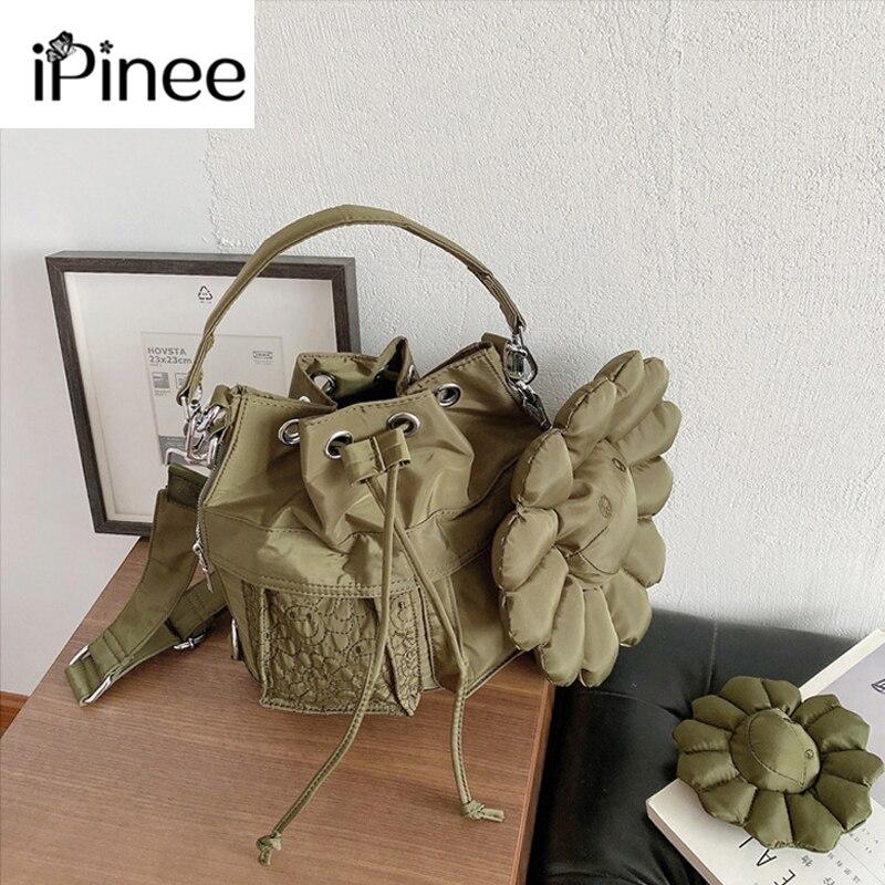 IPinee حقيبة يد فاخرة للنساء أكسفورد نسيج زهرة الإناث الكتف حقيبة كروسبودي 2021 جديد دلو حقيبة مصمم