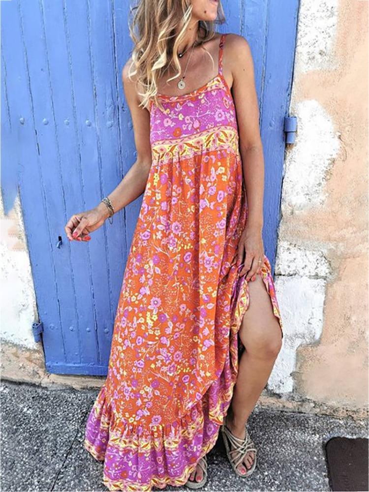 2020 Women Fashion Summer Spaghetti Strap Print Maxi Dress attractive spaghetti strap embroidery high slit maxi dress for women