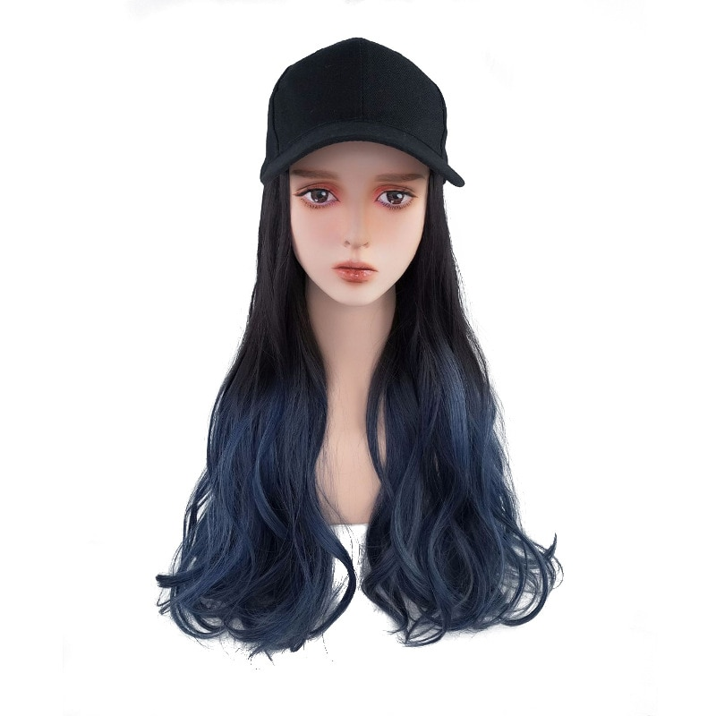 Women Hat Wig With Synthetic Wavy Hair Extensions Adjustable Black Baseball Cap Female Baseball Cap Hat Wig For Women BY201