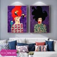 Toile de decoration de noel  affiches de peinture  mode fille et oiseau fleur  tableau dart mural pour salon  decoration de maison