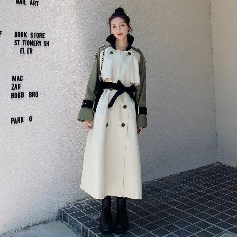 التباين خياطة خندق المرأة الجديدة الكورية سترة السيدات فضفاضة غير رسمية فوق الركبة الربيع الخريف موضة الإناث سترة واقية معطف