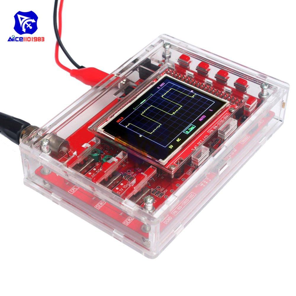Diymore-راسم الذبذبات الرقمي ، 2.4 بوصة TFT LCD ، شاشة التمساح ، مقاطع مسبار ، علبة أكريليك شفافة لـ Arduino DSO138