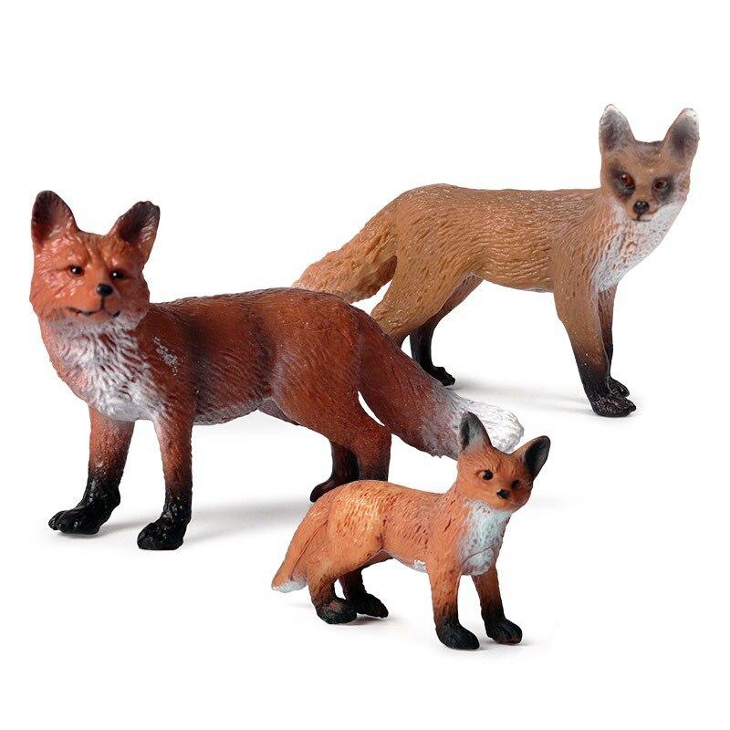 Forêt faune animaux renard Simulation Animal Figurine renard rouge Figurine daction PVC Miniature modèle éducatif jouet enfants cadeau