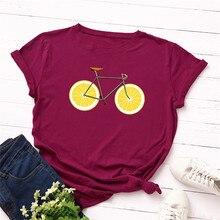 Camiseta de talla grande S-5XL nueva bicicleta con estampado de limón Camiseta de algodón para mujer 100% cuello redondo de manga corta de verano camiseta Casual de bicicleta