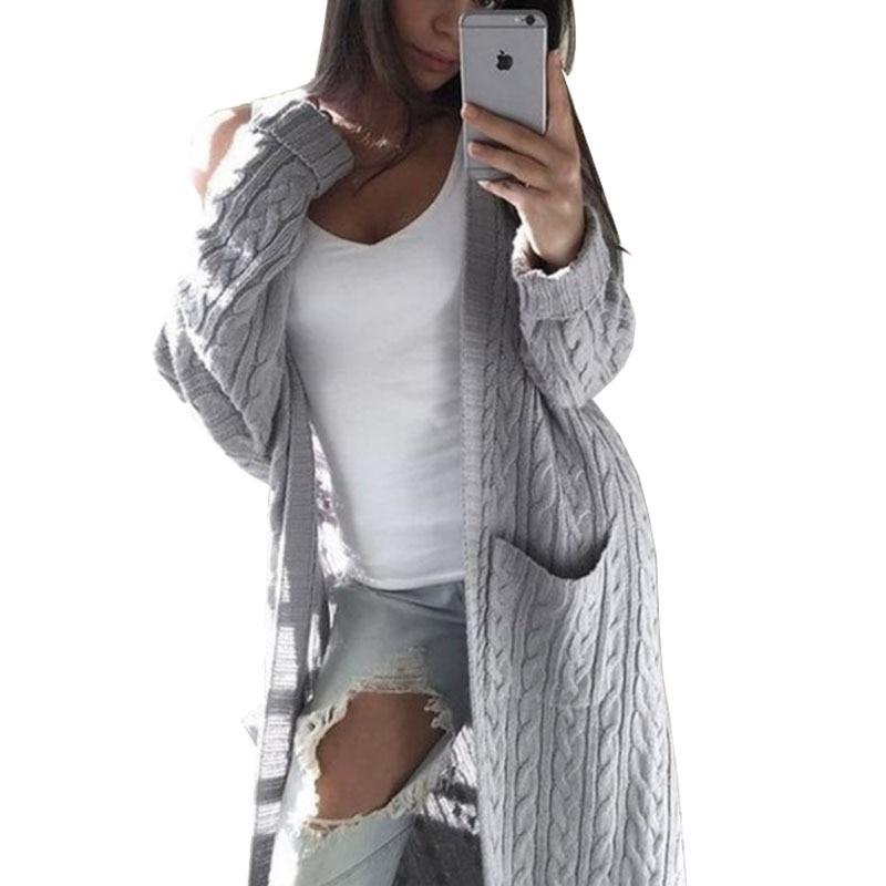 Cárdigan de punto de manga larga para Mujer Otoño Invierno grueso suéter...