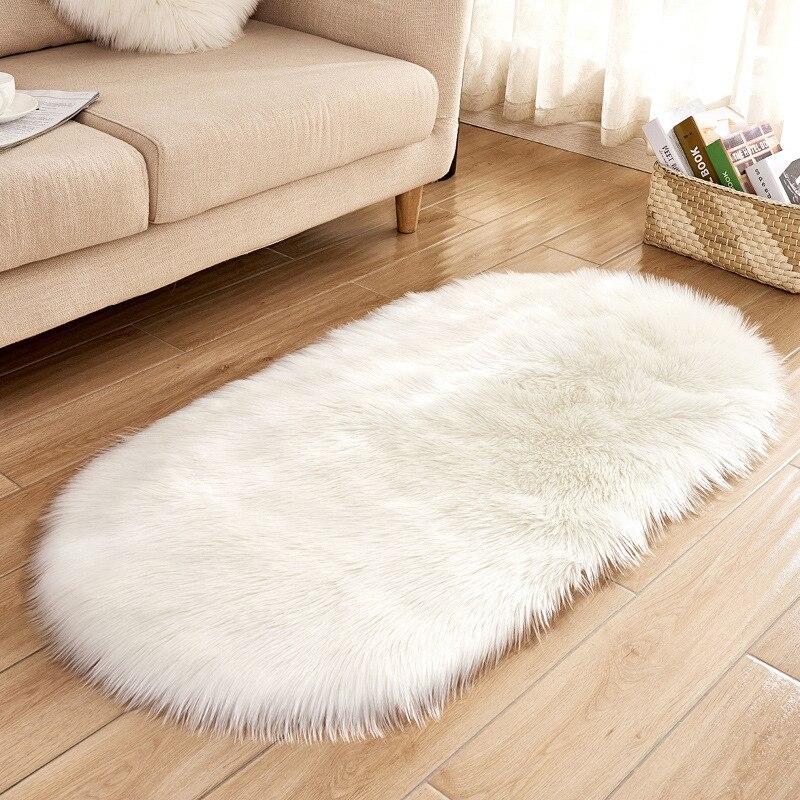 Alfombras gruesas de felpa hermosas alfombras blancas ovaladas sala de estar dormitorio puerta alfombra suave cálido antideslizante calidad poliéster A casa