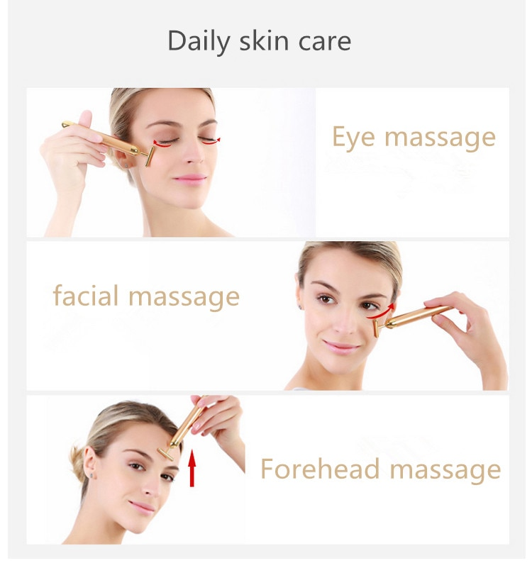 Energy 24K Gold T Beauty Bar Facial Massage Roller Face Lift Hands Body Skin Relaxation Slimming Beauty Health Skin Care Tools