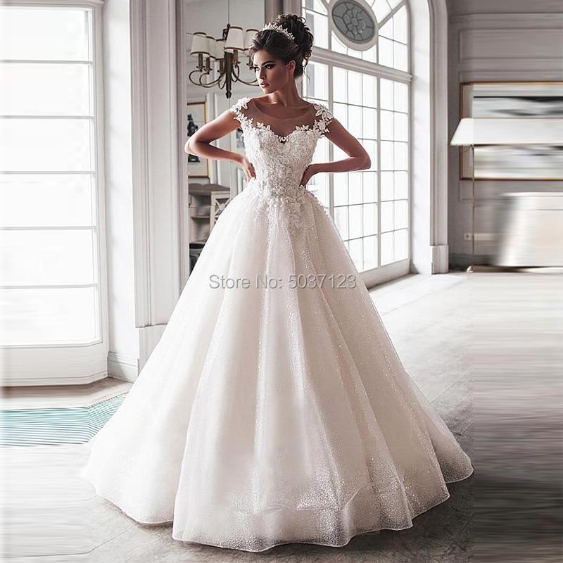 Bling bola vestido boda vestidos 2020 tul desnuda escote mangas Apliques de encaje corsé botones barrido tren vestidos de novia