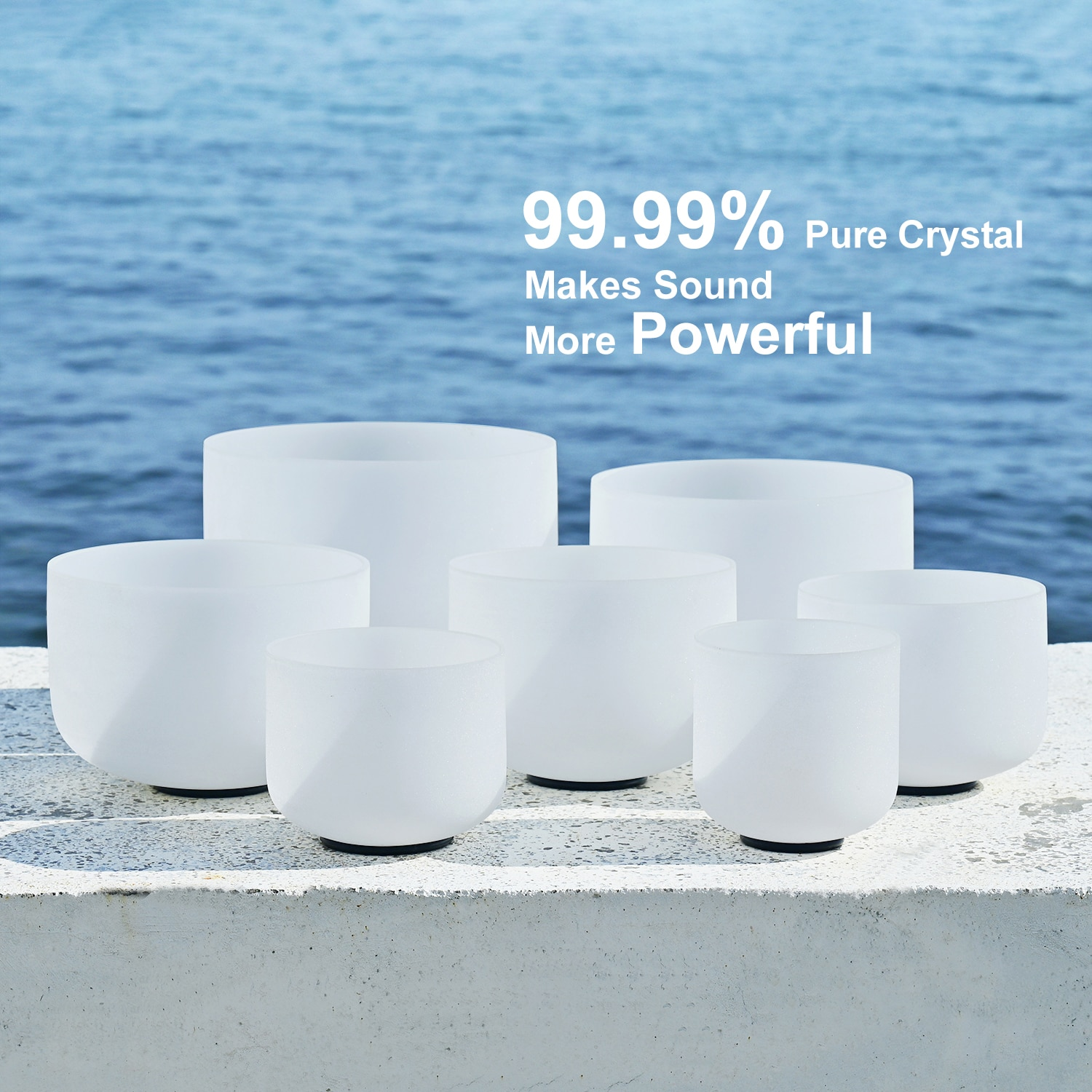 CVNC 7-12 Inch Note CDEFGAB Set of 7PCS Chakra Frosted Quartz Crystal Singing Bowl with Free Carry Bag enlarge