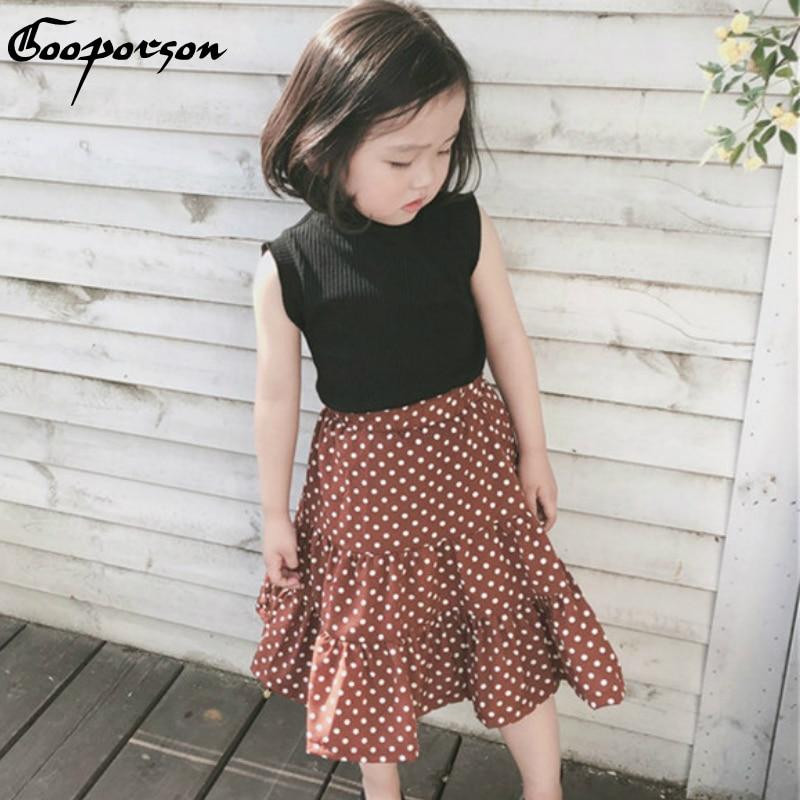 Conjunto de ropa a la moda para niñas, conjunto de ropa de verano, camisa negra con cuello de tortuga y falda con estampado de puntos, conjunto de ropa clásica para bebés