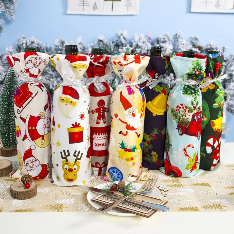 Christmas Bottle Cover Bag With Ribbon String Holiday Dining Table Home Party Decoration Supplies Wi