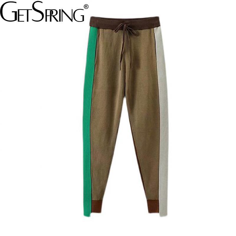 Getspring النساء بانت اللون مطابقة عدم التماثل شريط الحياكة بنطلون حجم كبير موضة عالية الخصر السراويل الخريف النساء الملابس