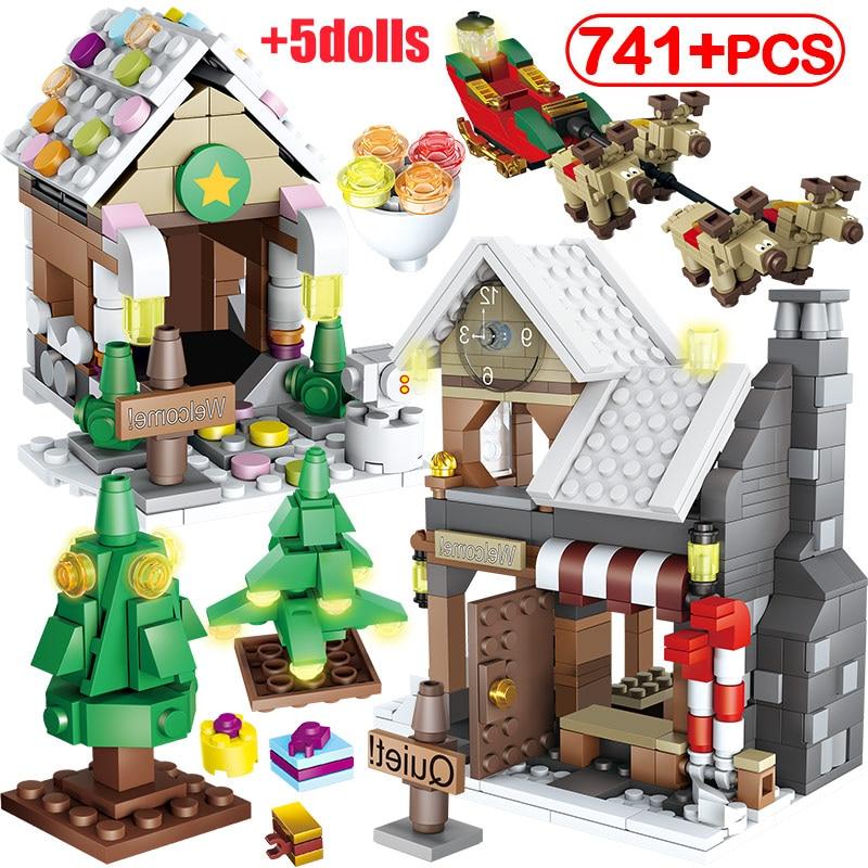 741 pçs criador papai noel inverno aldeia houes árvore de natal boneco de neve blocos de construção cidade amigos diy tijolos brinquedos para meninas