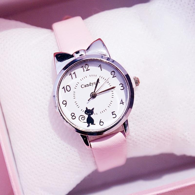 Fashion Women Watches Cat Pattern Leather Ladies Wrist Watches Dress Students Children Pink Watch Girl Gift Clocks Montre Femme