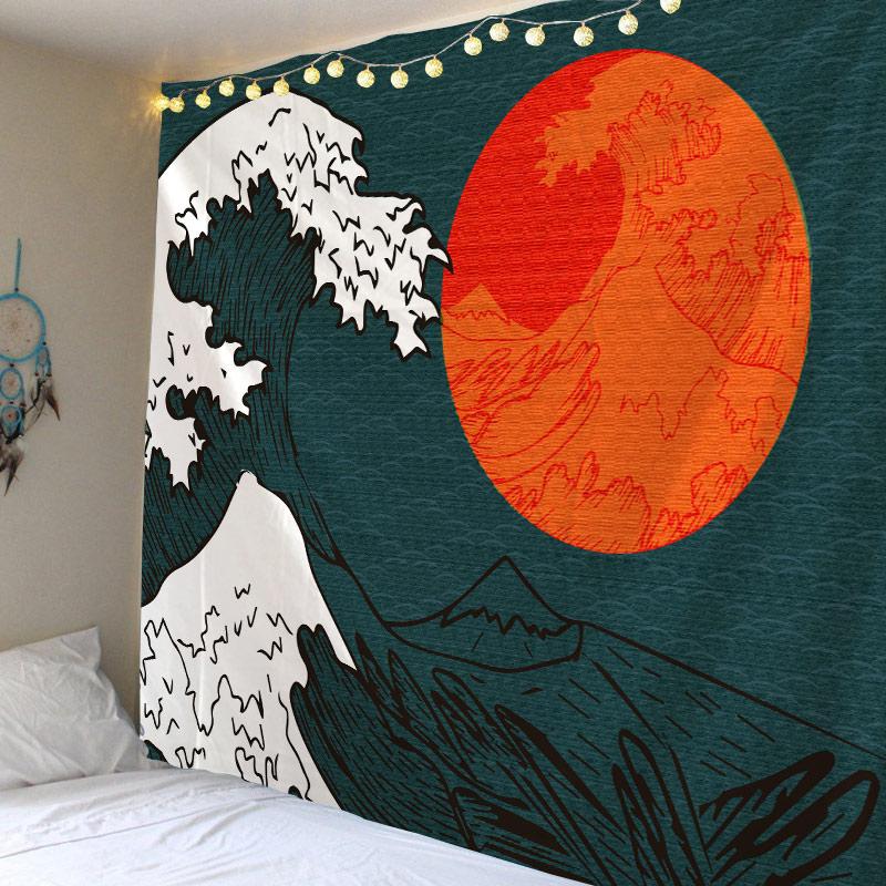 Tapiz japonés Ukiyoe, tapiz colgante de pared de árbol verde, tapiz de paisaje para el hogar, decoración para pared, tamaño grande, barato, Hippie
