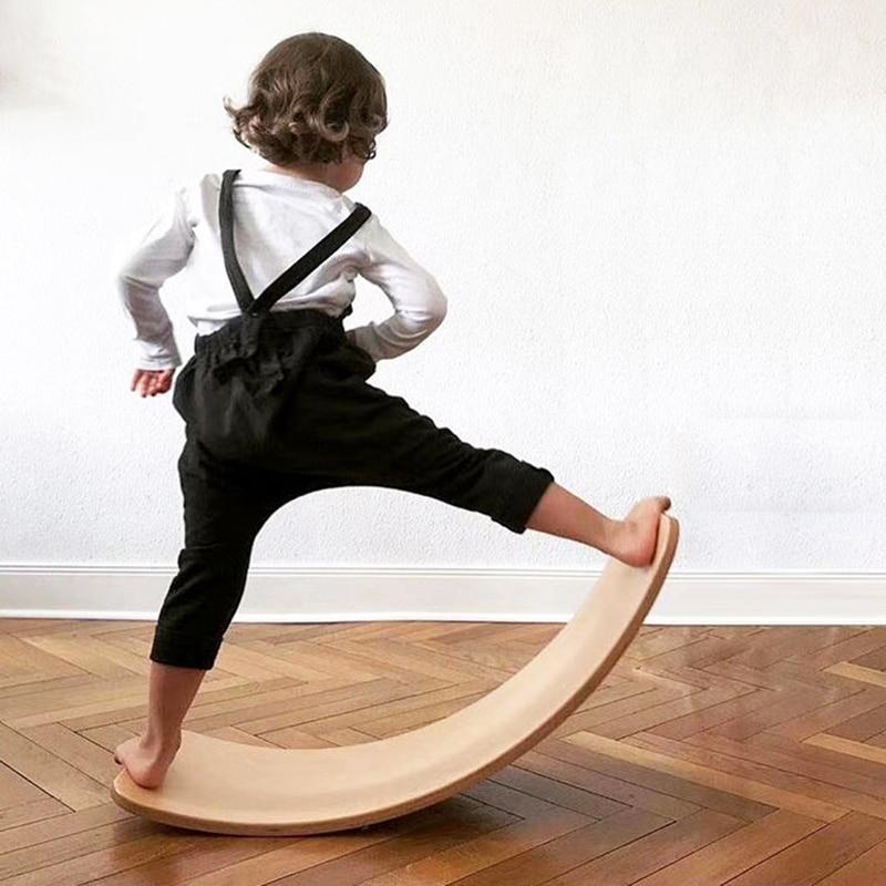 placa de equilibrio de madeira pre escolar aprendizagem crianca yoga placa curva