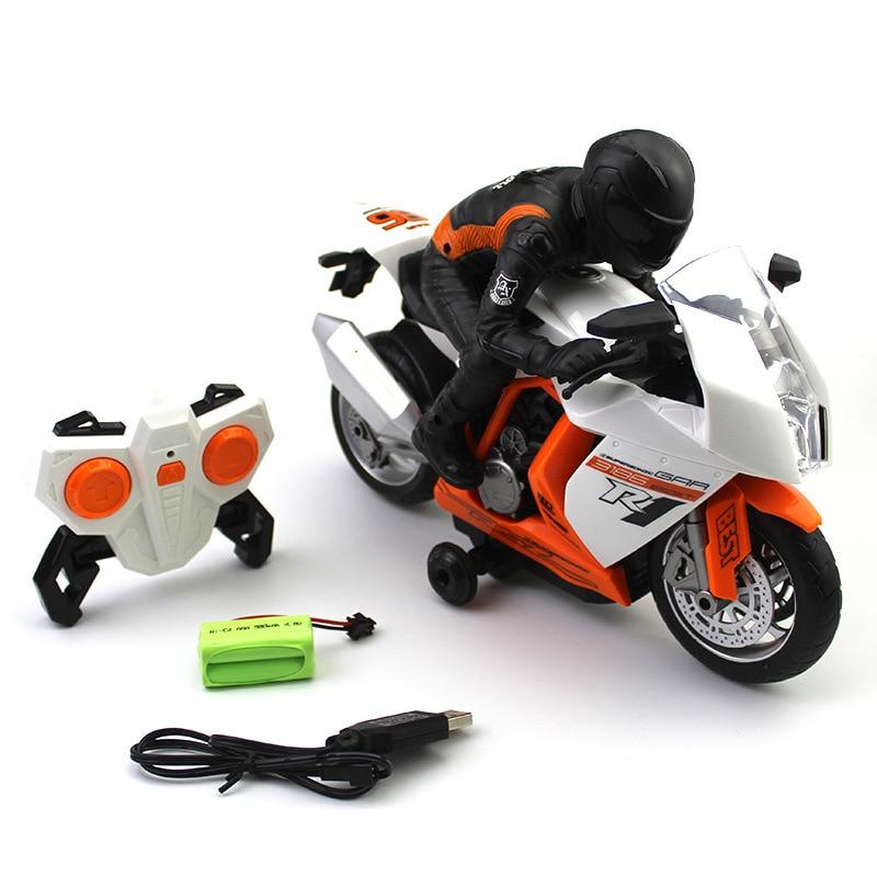 Motocicleta de coche a Control remoto con música ligera rotación de 360 grados, motocicleta de 2,4G a Control remoto para niños Gif