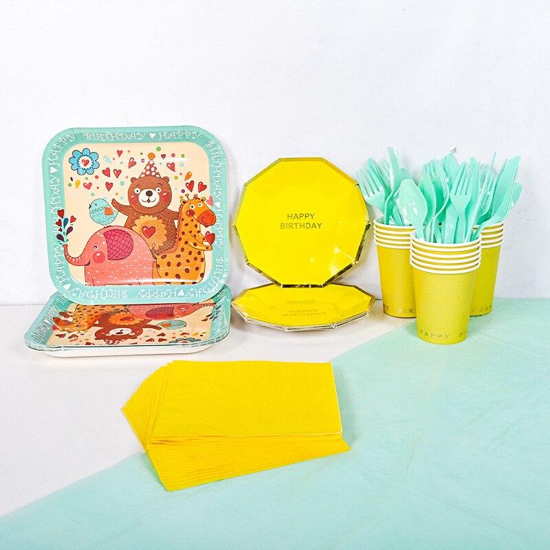 118 Uds selva decoración oso jirafa elefante desechables plato de papel para mesa taza servilleta Safari fiesta en el Zoo suministros