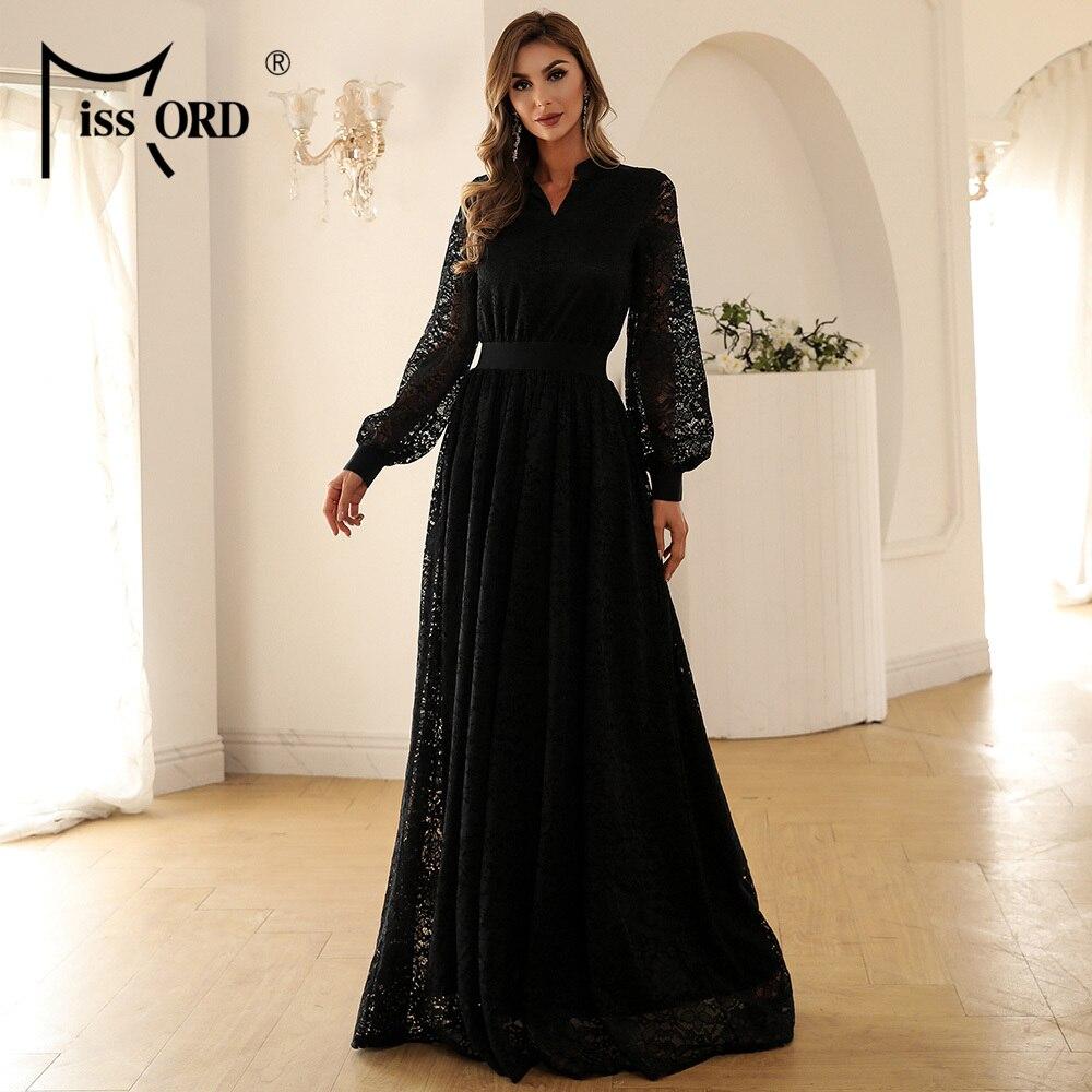 فستان نسائي Missord بأكمام طويلة ورقبة على شكل حرف V, فستان دانتيل شفاف بطول يصل إلى الأرض للحفلات المسائية M01213 لعام 2021