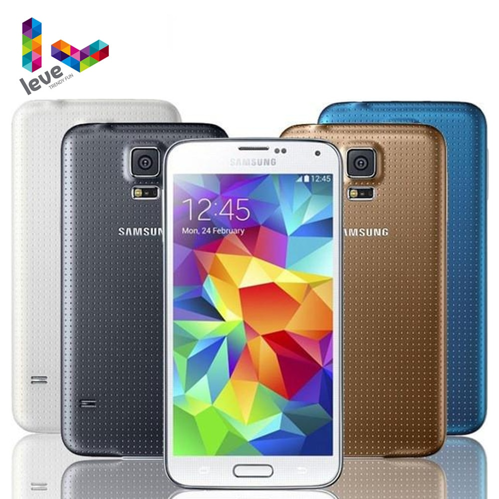 Samsung-هاتف ذكي Galaxy S5 أصلي مفتوح ، هاتف ذكي ، 5.1 بوصة ، 2 جيجا بايت رام ، 16 جيجا بايت روم ، رباعي النواة ، 4G LTE ، Android ، I9600 G900F G900A
