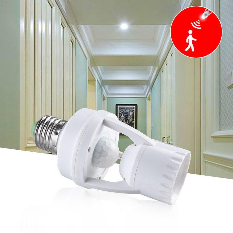 Sensor de movimiento PIR enchufe E27 convertidor 100-240V LED E27 portalámparas Detector de movimiento Auto Smart Interruptor de Inducción adaptador para bombilla