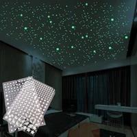 202pcsset 3d luminous stars dots wall sticker kids room room home decor decal glow in the dark diy stickers