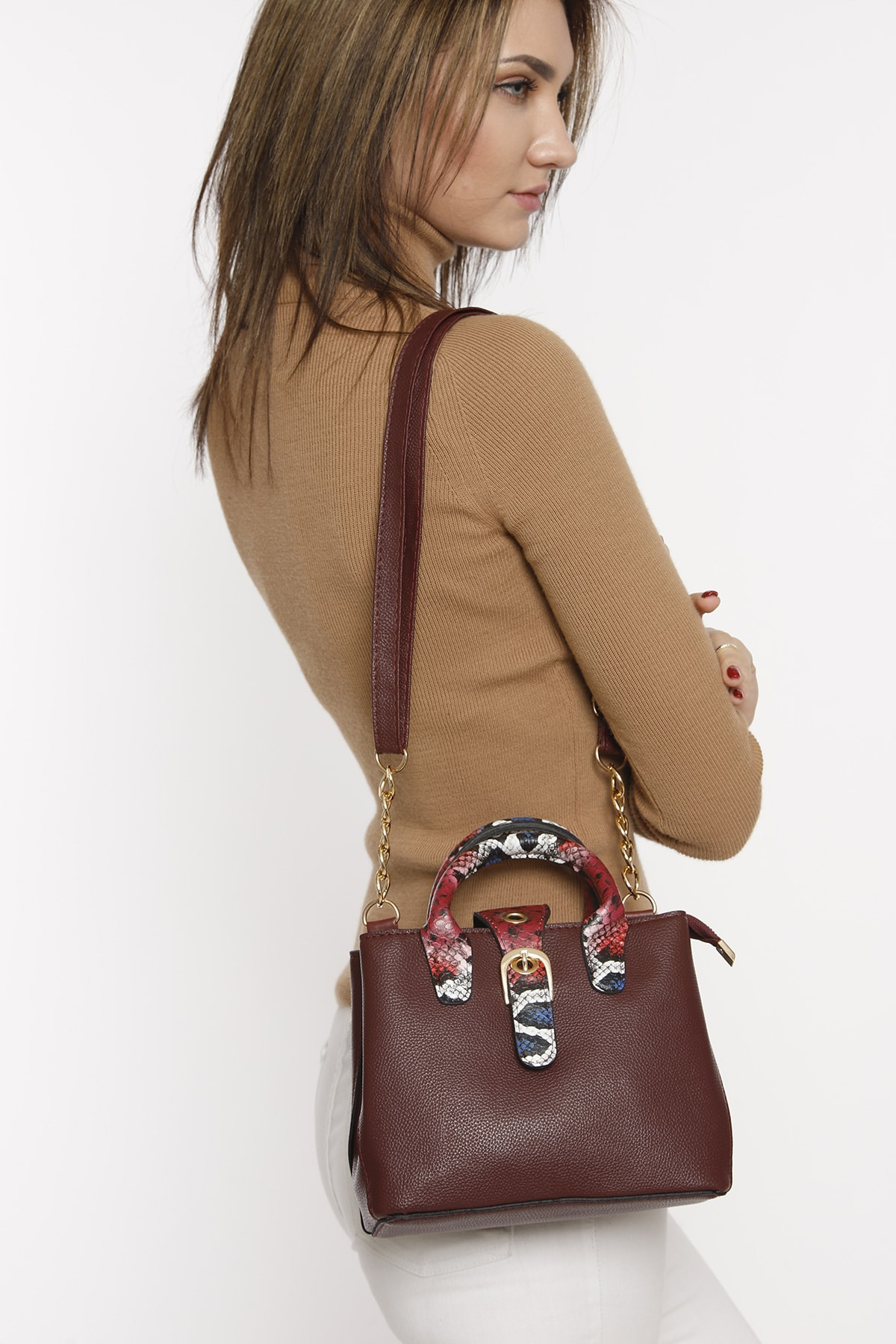 Burgundy Buckle Detailed Shoulder Bag Fashion Trend Shoulder Strap Waterproof Velvet Leather Casual Women's Shoulder Bag