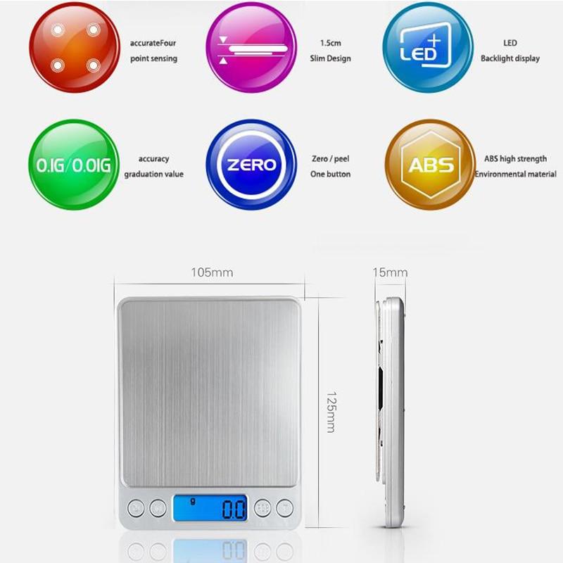 Электронные цифровые весы 3000 г/0,1 г, весы с ЖК-дисплеем 500 г/0,01 г, Цифровые зеркальные мини-весы, весы для выпечки-1
