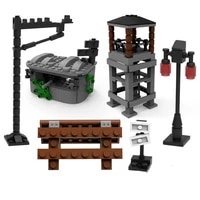 moc creative compatible building blocks military scene accessoriesgrate tower gun modelassemble wwii german children toys gift