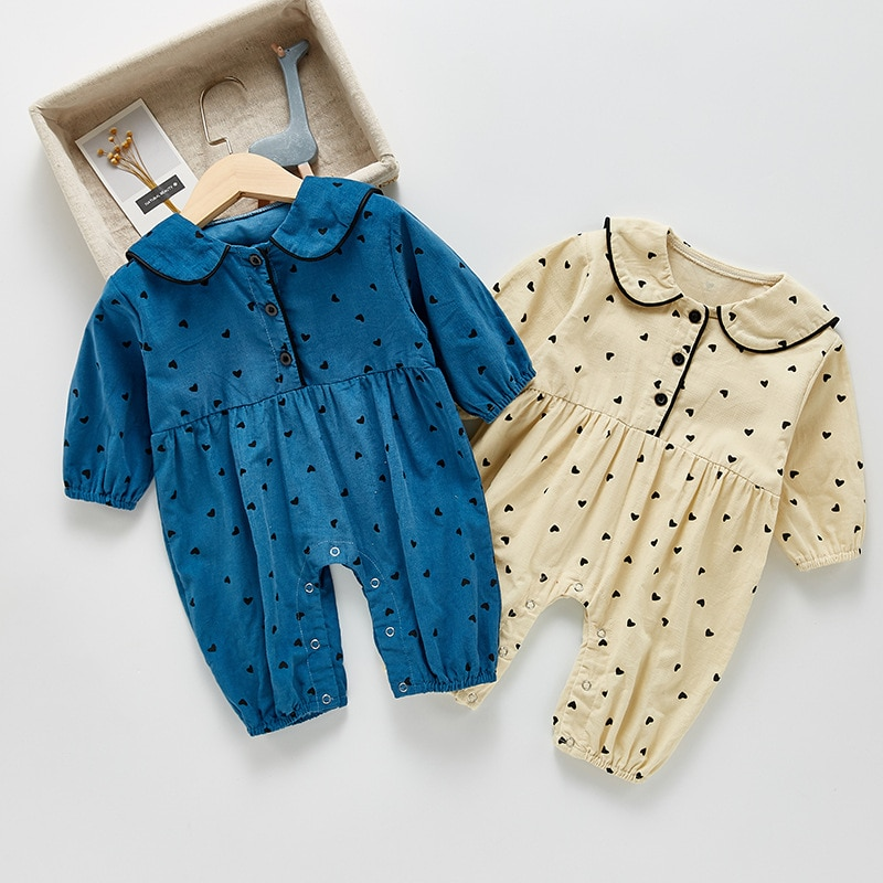 2021 New Baby Girl Heart Print Romper Fashion Kids Corduroy Jumpsuit Autumn Long Sleeve Baby Clothes