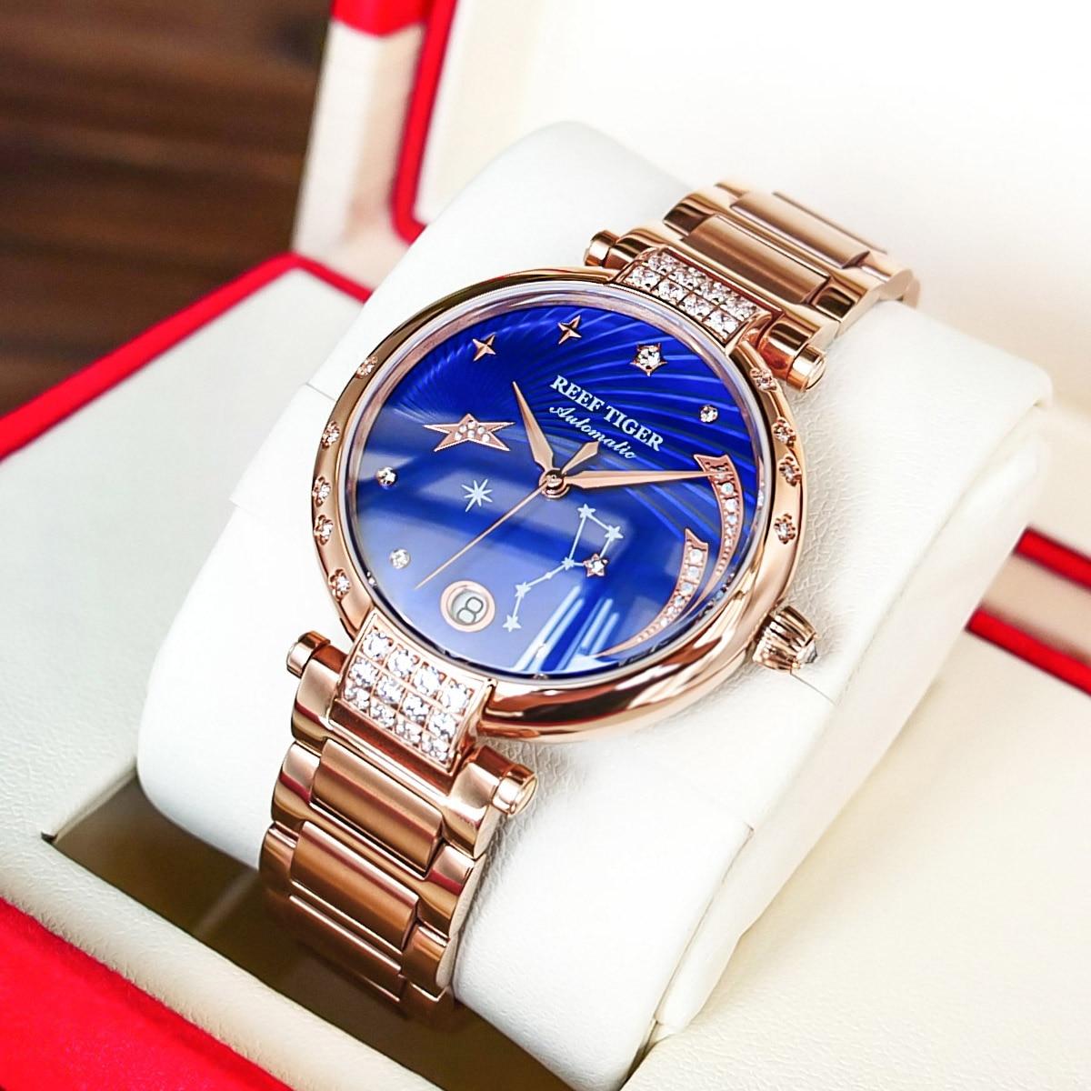 2021 New Reef Tiger/RT Top Brand Elegant Self Winding Womens Watch Date Rose Gold Diamond Watches Blue Bracelet Watches RGA1592